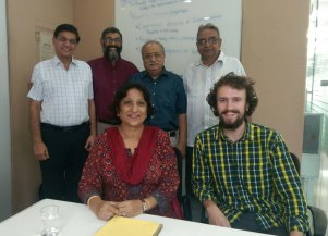 Meeting of minds in Delhi. In this photo I am meeting with a handful of folks from different organizations to discuss design for the program offerings at the Foundation for Contemplation of Nature (FCN). Ajay Rastogi (second from left in back row) is the founder of FCN. Pradeep Kashyap (first from left back row) is the founder of MART, a consulting firm in emerging markets. Mr. Kashyap hosted our group at their office in New Delhi. We made great progress in building the collaborative efforts around programs and workshops to be offered at FCN in the future. October 2016. From WSCU grad student Brandon McNamara.